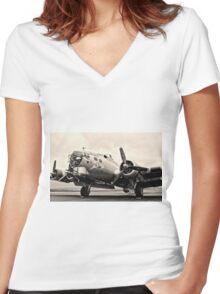 B-17 Bomber Airplane Aluminum Overcast Women's Fitted V-Neck T-Shirt