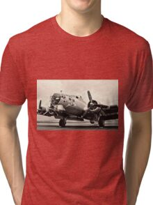 B-17 Bomber Airplane Aluminum Overcast Tri-blend T-Shirt