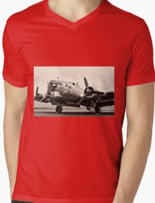 B-17 Bomber Airplane Aluminum Overcast Mens V-Neck T-Shirt