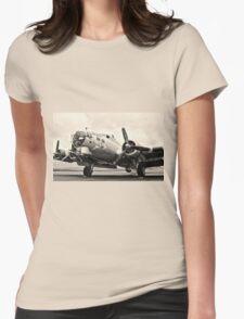 B-17 Bomber Airplane Aluminum Overcast Womens Fitted T-Shirt
