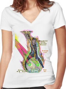 Tesla riding steed light bulb triumphantly into battle as it fires laser beams  Women's Fitted V-Neck T-Shirt