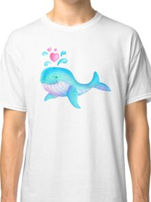 Cute whimsical whale heart spurt kids art  Classic T-Shirt