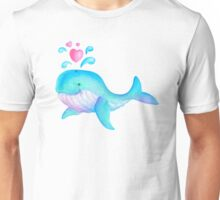 Cute whimsical whale heart spurt kids art  Unisex T-Shirt
