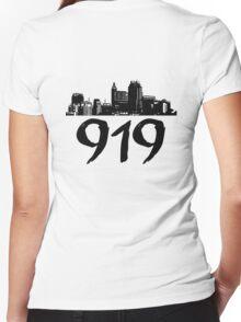 Raleigh - 919 (Black Logo) Women's Fitted V-Neck T-Shirt