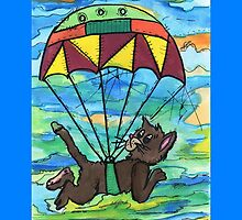 Sky diving Cool Cat  by blakvyne