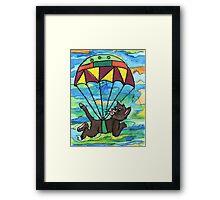 Sky diving Cool Cat  Framed Print