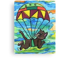 Sky diving Cool Cat  Canvas Print