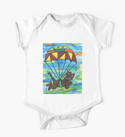 Sky diving Cool Cat  One Piece - Short Sleeve