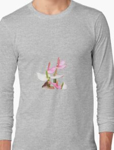 Pink and White Lilies Top View Long Sleeve T-Shirt