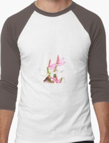 Pink and White Lilies Top View Men's Baseball ¾ T-Shirt