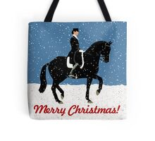 Snowy Dressage Horse Christmas Tote Bag