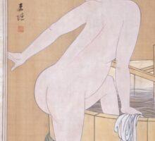 Kitagawa Utamaro - Bathing In Cold Water 1799. Woman portrait: sensual woman, geisha, female style, pretty women, femine, beautiful dress, cute, headdress, love, sexy lady, erotic pose Sticker