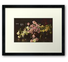 Joseph Rodefer Decamp - Still Life, Roses. Still life with flowers: still life with flowers, blossom, Rose, Roses, floral flora, wonderful flower, plants, cute plant for kitchen interior, garden, vase Framed Print