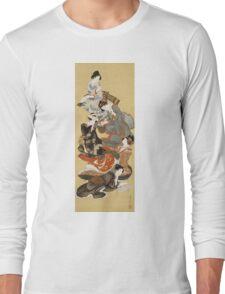 Katsushika Hokusai - Five Beautiful Women. Geisha portrait: Geisha, japanese, courtesan, pretty women, femine, beautiful dress, sleeping, asleep, love, sexy lady, erotic pose Long Sleeve T-Shirt