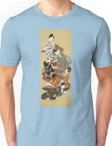 Katsushika Hokusai - Five Beautiful Women. Geisha portrait: Geisha, japanese, courtesan, pretty women, femine, beautiful dress, sleeping, asleep, love, sexy lady, erotic pose Unisex T-Shirt