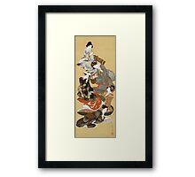 Katsushika Hokusai - Five Beautiful Women. Geisha portrait: Geisha, japanese, courtesan, pretty women, femine, beautiful dress, sleeping, asleep, love, sexy lady, erotic pose Framed Print