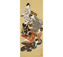 Katsushika Hokusai - Five Beautiful Women. Geisha portrait: Geisha, japanese, courtesan, pretty women, femine, beautiful dress, sleeping, asleep, love, sexy lady, erotic pose Photographic Print