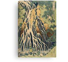 Katsushika Hokusai - Kirifuri Waterfall On Mount Kurokami In Shimotsuke Province . Kirifuri Waterfall landscape: trees,  Waterfall, cascade, riverside, fall, sun and clouds, nautical panorama Canvas Print