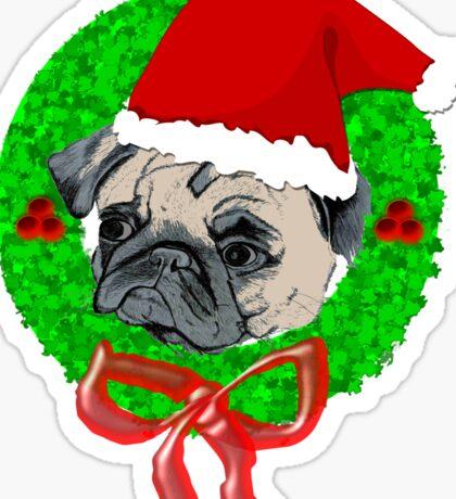 Christmas Pug Sticker