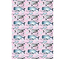 pattern whales and jellyfish Photographic Print