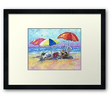 At the Beach With Mom Framed Print
