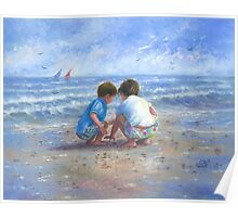 Finding Sea Shells Brother and Sister Poster
