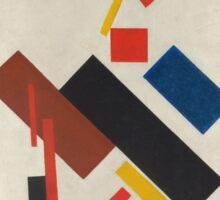 Kazimir Malevich - Stroyuschiysya Dom. Abstract painting: abstract art, geometric, expressionism, composition, lines, forms, creative fusion, spot, shape, illusion, fantasy future Sticker