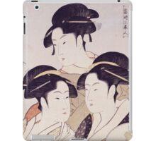Kitagawa Utamaro - Three Beauties Of The Present Day. Woman portrait: sensual geisha, female style, traditional dress, femine, beautiful dress, headdress,  hairstyle, courtesans, sexy lady iPad Case/Skin