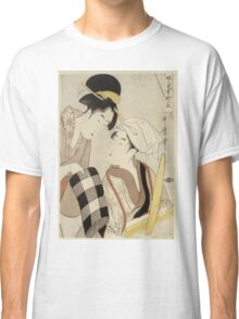 Kitagawa Utamaro - A Half-Length Portrait Of Two Women. Woman portrait: sensual woman, geisha, female style, traditional dress, femine, headdress,  hairstyle, courtesans, sexy lady, samurai Classic T-Shirt