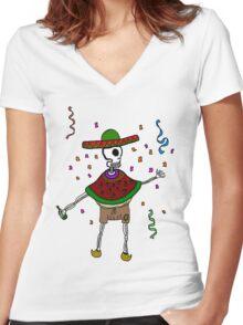La fiesta de la muerte Women's Fitted V-Neck T-Shirt