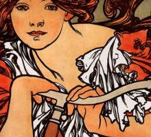 'Cycles Perfecta' by Alphonse Mucha (Reproduction) Sticker