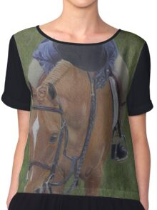 Young Girl and Pony Painting Chiffon Top