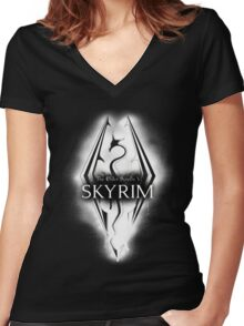 Skyrim Elder Scrolls Dragon Women's Fitted V-Neck T-Shirt
