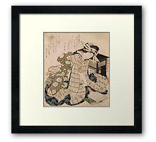 Katsushika Hokusai - Courtesan Asleep. Geisha portrait: Geisha, japanese, courtesan, pretty women, femine, beautiful dress, cute, creativity, love, sexy lady, pose Framed Print
