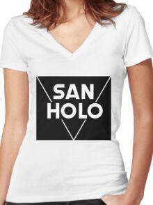 San Holo Basic (WHITE) Women's Fitted V-Neck T-Shirt