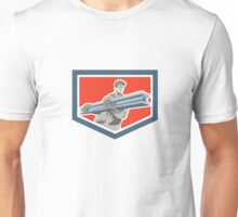 Construction Steel Worker Carrying I-Beam Shield Retro Unisex T-Shirt