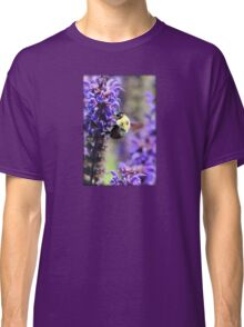 Bee Collecting Pollen From Purple Flower Classic T-Shirt