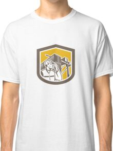 Dock Worker on Phone Container Yard Shield Classic T-Shirt