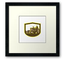 Farmer Driving Tractor Plowing Farm Shield Retro Framed Print