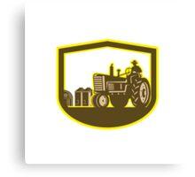 Farmer Driving Tractor Plowing Farm Shield Retro Canvas Print