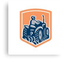 Farmer Driving Tractor Plowing Rear Shield Retro Canvas Print