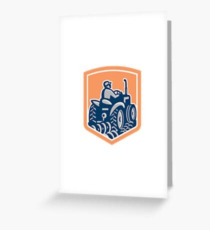 Farmer Driving Tractor Plowing Rear Shield Retro Greeting Card