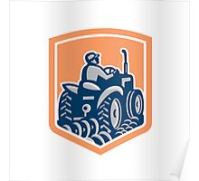 Farmer Driving Tractor Plowing Rear Shield Retro Poster