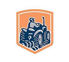 Farmer Driving Tractor Plowing Rear Shield Retro Photographic Print