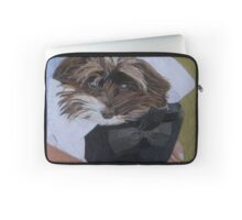"""I Got Carried Away"" Puppy Dog in Equestrian Helmet Painting Laptop Sleeve"