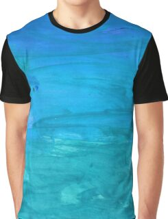 Abstract watercolor hand paint sky blue texture Graphic T-Shirt