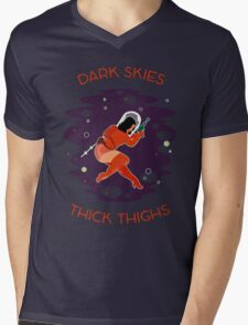Raygun Rima / Dark Skies, Thick Thighs Space Print Mens V-Neck T-Shirt