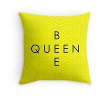 """Queen Bee"" with Honeycomb Background Throw Pillow"