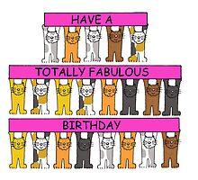 Cats celebrating fabulous pink gay birthday. by KateTaylor