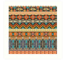 Colorful  tribal pattern with geometric elements Art Print
